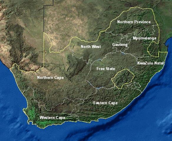 Carte Satellite Afrique Du Sud.Cartes De L Afrique Du Sud
