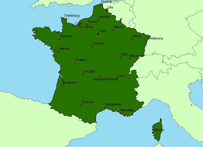 carte de france avec grandes villes