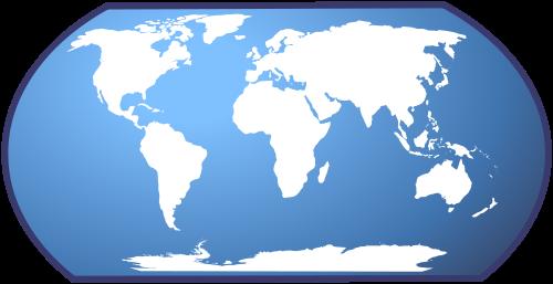 Carte du Monde fond bleu